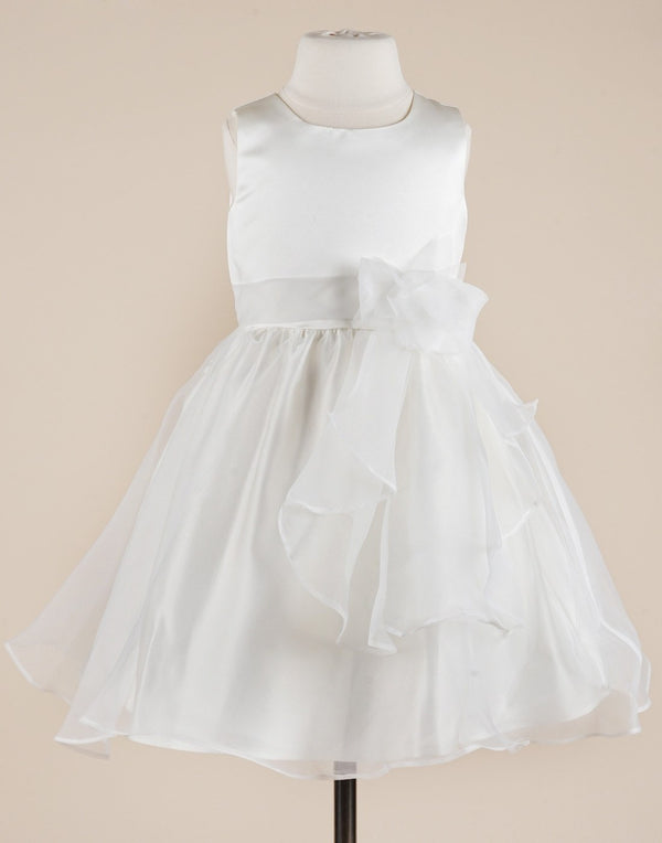 Elegant White Satin and Organza Dress - White