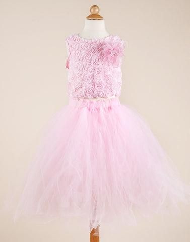 Baby Pink Tutu with Floral Lace Bodice
