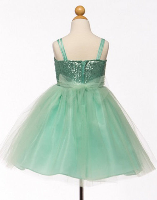 Twinkling Sequined Bodice and Tulle Overlay Skirt Dress - Mint