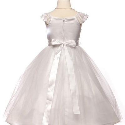 Sparkly Taffeta Bodice and Organza Overlay Skirt Dress - Ivory