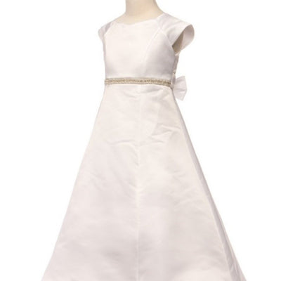Satin A-Line Dress with Beaded Waist belt - Ivory