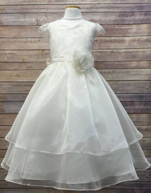 Double Layered Lace and Organza dress - White