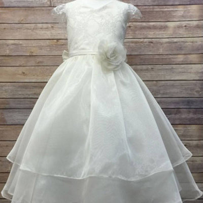 Double Layered Lace and Organza dress - Ivory