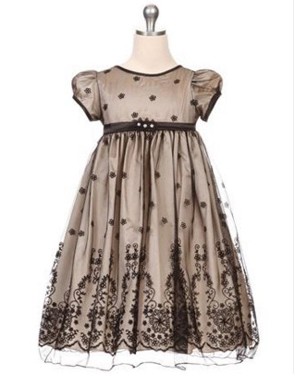 Taffeta and Floral Embroidered Tulle Overlay Dress - Champagne