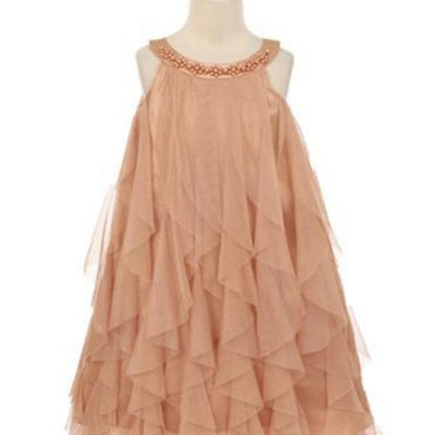 Mesmeric Mesh Ruffle Dress with Beaded Neckline - Champagne