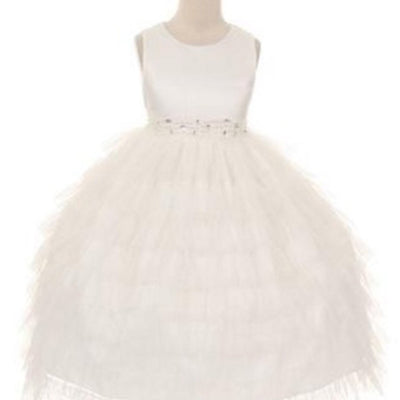 Enchanting Mesh Layered Princess Dress - Ivory