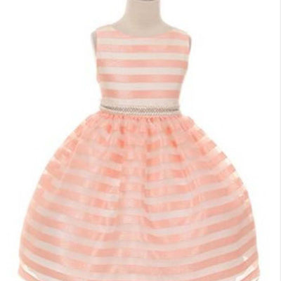 Organza Striped Overlay Dress with Gem Belt - Peach