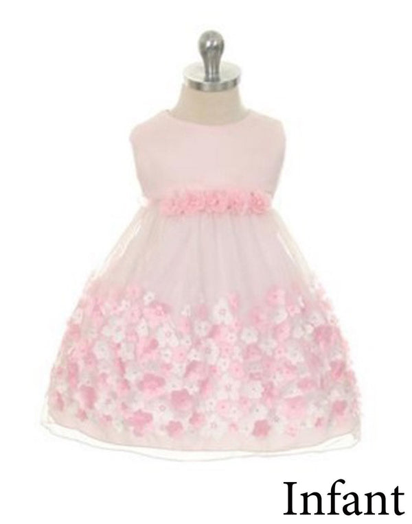 Appealing Flower Mesh Dress - Pink