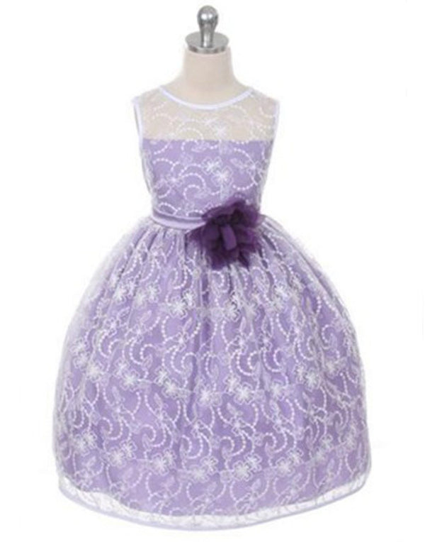 Satin Lining and Floral Overlay Lace Dress - Lavender
