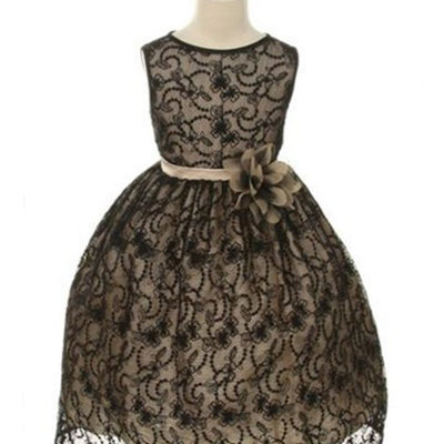 Satin Lining and Floral Overlay Lace Dress - Black / Champagne
