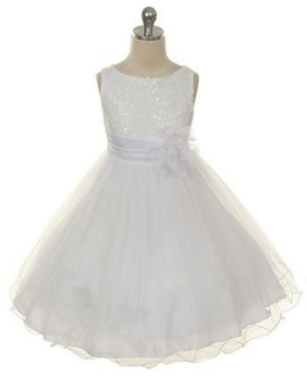 Glittery Sequined Bodice and Double Layered Mesh Dress - White