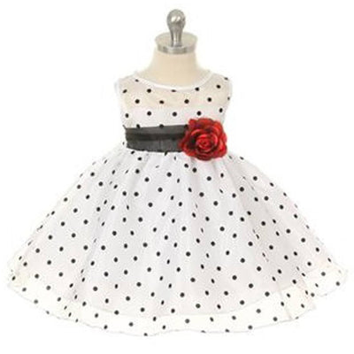 Polka Dot Organza Overlay Dress with an Organza Sash & White - Black / White