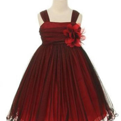 Compelling Mesh and Taffeta Overlay Dress - Black / Red