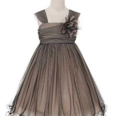Compelling Mesh and Taffeta Overlay Dress - Black / Champagne