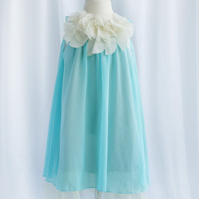 Chic Chiffon Dress With Ivory Flower Neckline - Turquoise