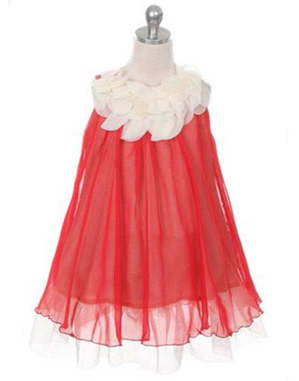Chic Chiffon Dress With Ivory Flower Neckline - Red
