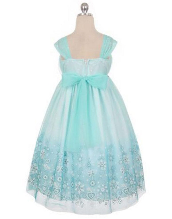 Ombre Glitter Princess Tulle Dress - Turquoise