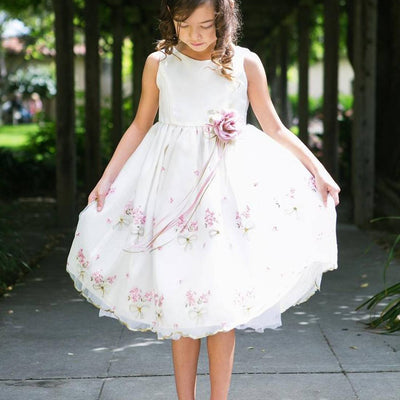 Shimmery Satin Bodice and Floral Embroidered Organza Overlay Skirt Dress - Ivory