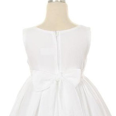 Sleeveless Linen Dress with Flower Trims - White