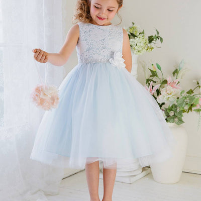 Glamorous and Lace tulle Dress with Flower Accented Belt - Light Blue