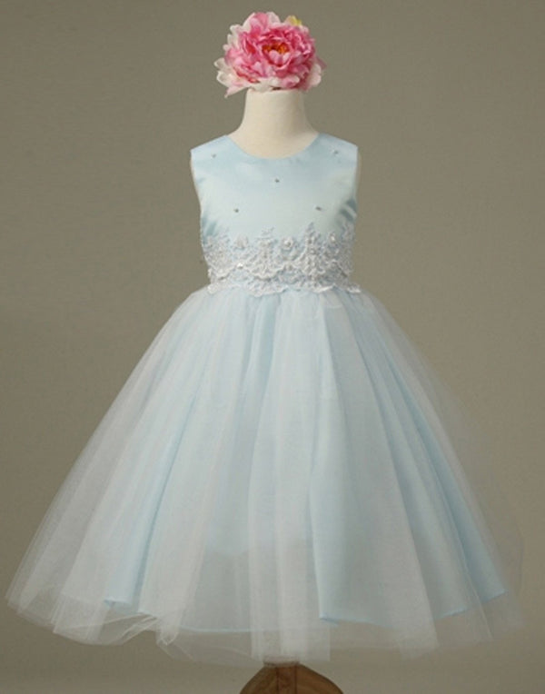 Pearl and Lace Embellished Tulle Dress - Light Blue