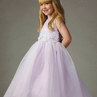 Pearl and Lace Embellished Tulle Dress - Lavender