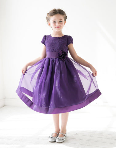Attractive Lace and Mirror Organza Dress with a Satin Blossom - Purple
