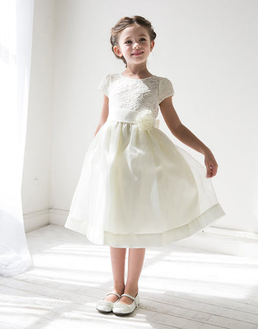 Attractive Lace and Mirror Organza Dress with a Satin Blossom - Ivory