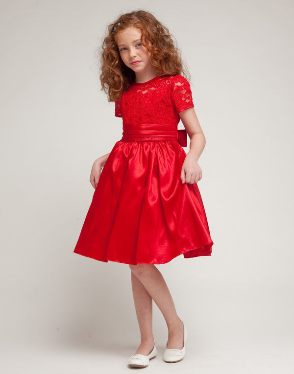 Luring Lace and Glistening Taffeta Knee length Dress - Red