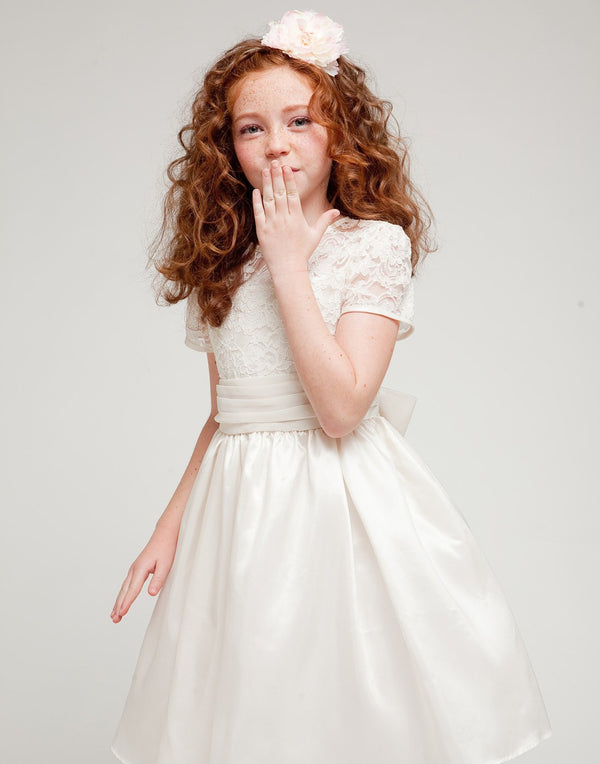 Luring Lace and Glistening Taffeta Knee length Dress - Ivory
