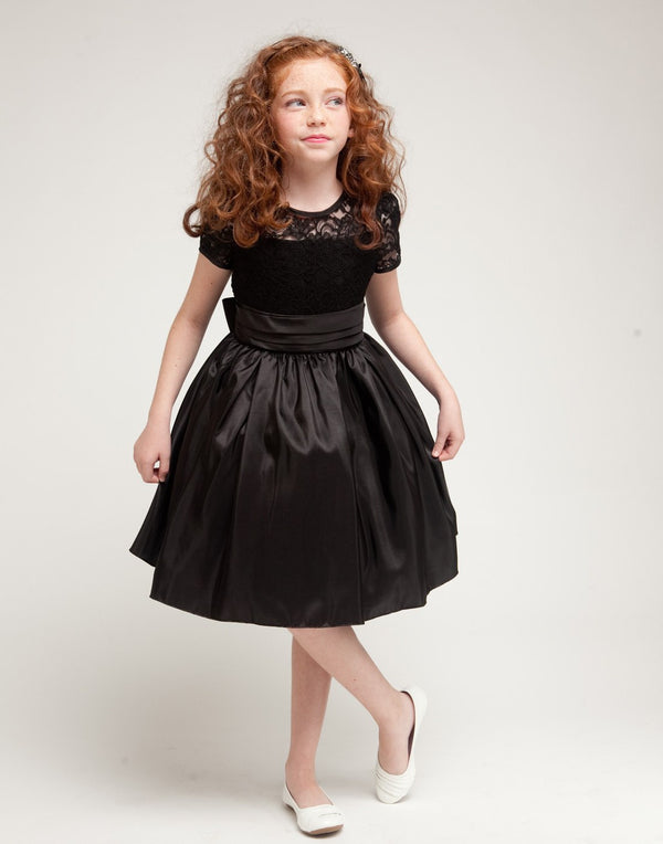 Luring Lace and Glistening Taffeta Knee length Dress - Black