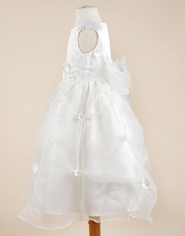 White Organza Pick Dress with flowers - White