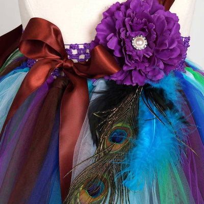 Pretty Peacock One Shoulder Flower Girl Tutu Dress