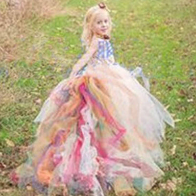 Fairy-like Tulle Dress with Long Colorful Tail