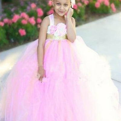 Shimmering Gold and Pink Blossomy Tulle Dress
