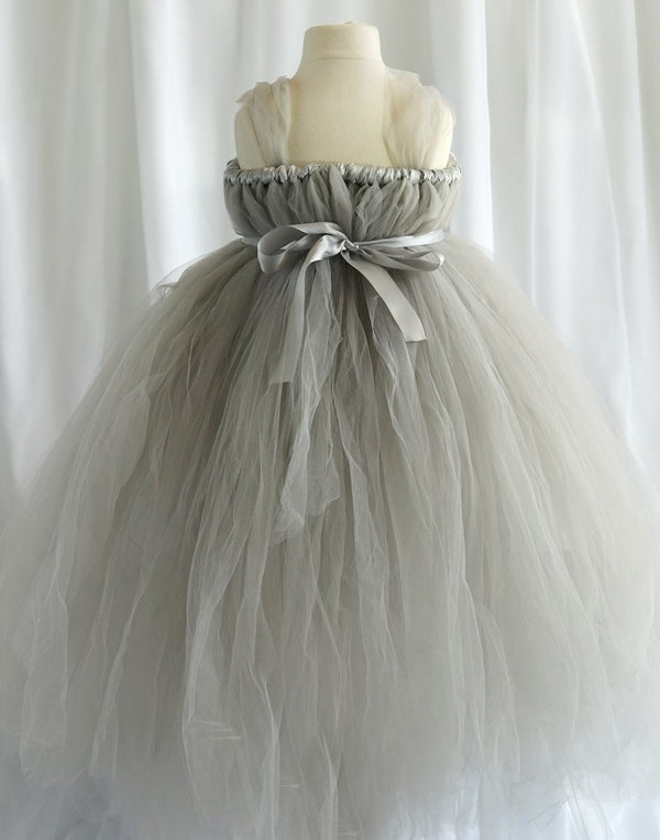 Empyrean Tulle  Floor-Length Dress - Silver