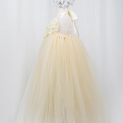 Fantastic Floriated Tulle Dress with Pearl Accents - Champagne