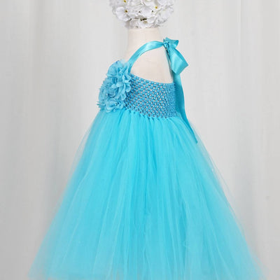 Fantastic Floriated Tulle Dress with Pearl Accents - Turquoise