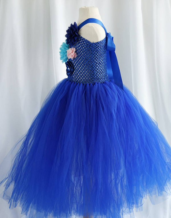 Ravishing Ivory Tulle Flower Girl Dress - Royal Blue
