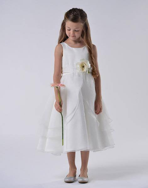 White Multi Layered Organza Dress With Sash