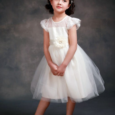 Lace Sleeve Off White Princess Tulle Dress