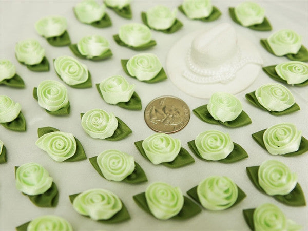 144 PCS Decorative Craft Rose Buds - Apple Green