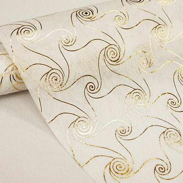 "Glossy Party Event Craft Non-Woven Metallic Design Fabric Bolt -Gold/White- 19""x10Yards"