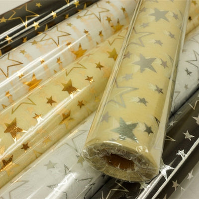 "Glossy Party Event Craft Non-Woven Star Design Fabric Bolt - Gold/Ivory- 19""x10Yards"
