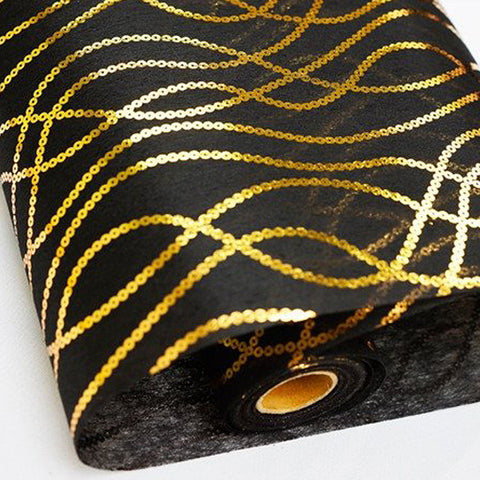 "Glossy Party Event Craft Non-Woven Chain Design Fabric Bolt - Gold/Black- 19""x10Yards"