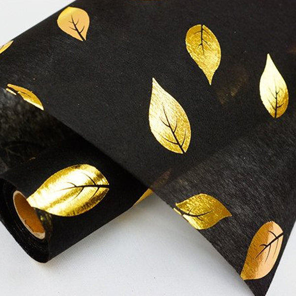 "Glossy Party Event Craft Non-Woven Leaf Design Fabric Bolt - Gold/Black - 19""x10Yards"