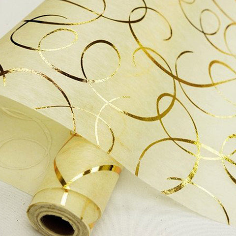 "Glossy Party Event Craft Non-Woven Dancing Lines Design Fabric Bolt - Gold/Ivory - 19""x10Yards"