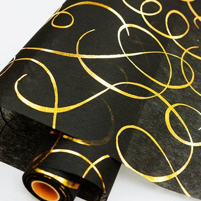 "Glossy Party Event Craft Non-Woven Dancing Lines Design Fabric Bolt - Gold/Black - 19""x10Yards"