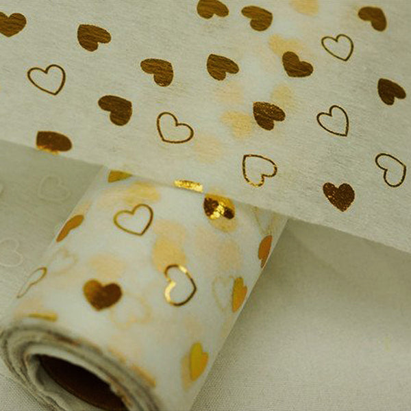 "Glossy Party Event Craft Non-Woven Heart Design Fabric Bolt - Gold/White - 19""x10Yards"