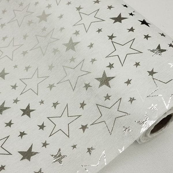 "Glossy Party Event Craft Non-Woven Star Design Fabric Bolt -White/Silver- 19""x10Yards"